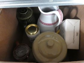 4 boxes of assorted items to include pictures, stool, flasks, stoneware, chinaware, walking sticks a