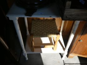 White painted table, cane stool, two wicker chairs etc