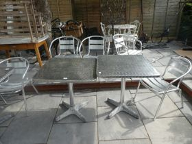 3 metal square one A/F cafe style tables and 7 chairs