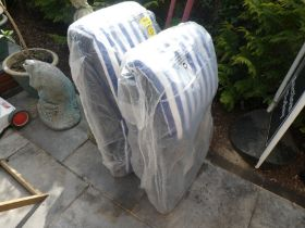 Two new garden chairs with blue and white strip cushions