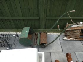 Vintage push along mower with catcher by Anglia Ipswich England
