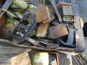 A Box of old tins some full with nails etc. clamps and power tools