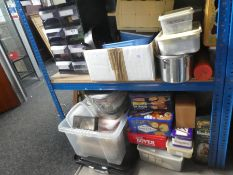 A large quantity of fishing accessories to include hooks, feathers, cooking tin, clamps, etc
