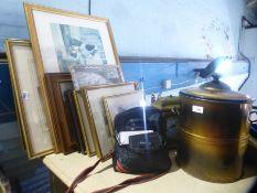 Collection of pictures, clock, camera, enamel breadbin, etc