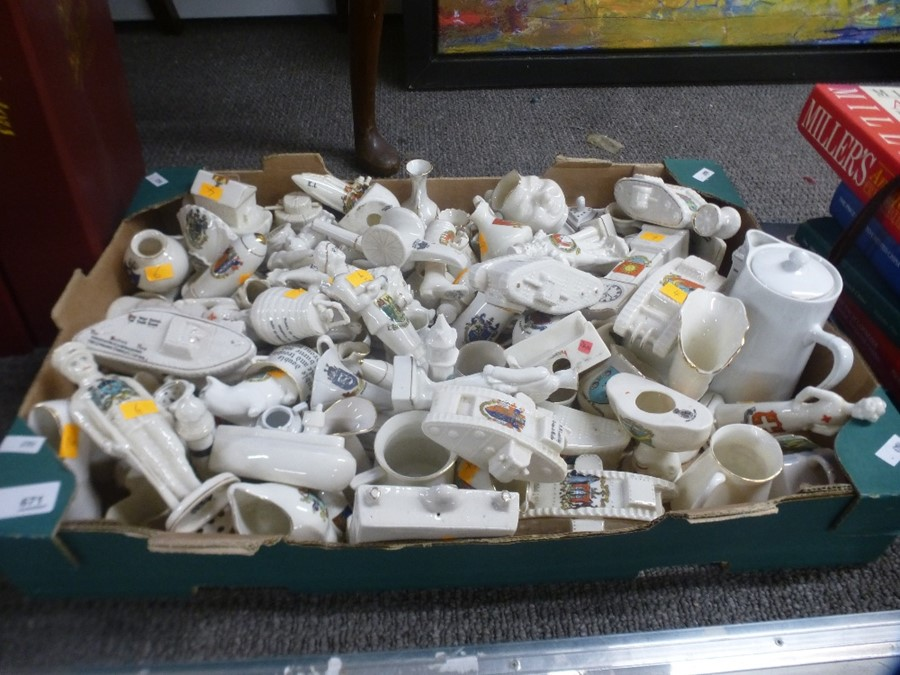 A tray of crested china including many tanks and 6 related books