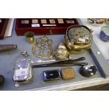 A 19th century tortoiseshell and silver snuff box, two other snuff boxes, a plated hip flask and sun