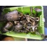 A box of mixed brassware to include figures, candle sticks, a boot etc