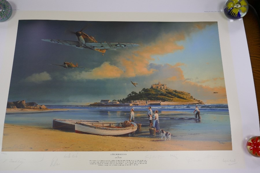 Robert Taylor A time for Heroes a limited edition coloured print with numerous pencil signatures, un