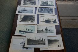 Eleven French Titanic postcards, some dated 1912, all appear from that period