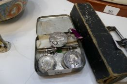 Various service medals, WW1 and WW2, a micrometer and sundry