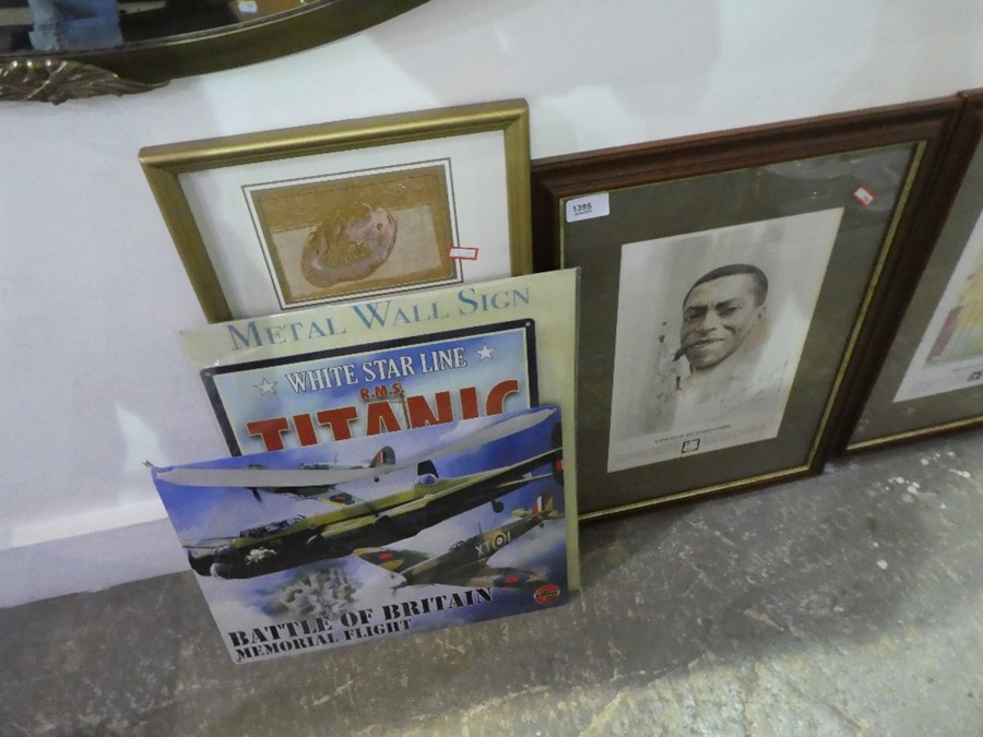 Two metal signs, one depicting Titanic, the other Battle of Britain and two signed framed and glazed