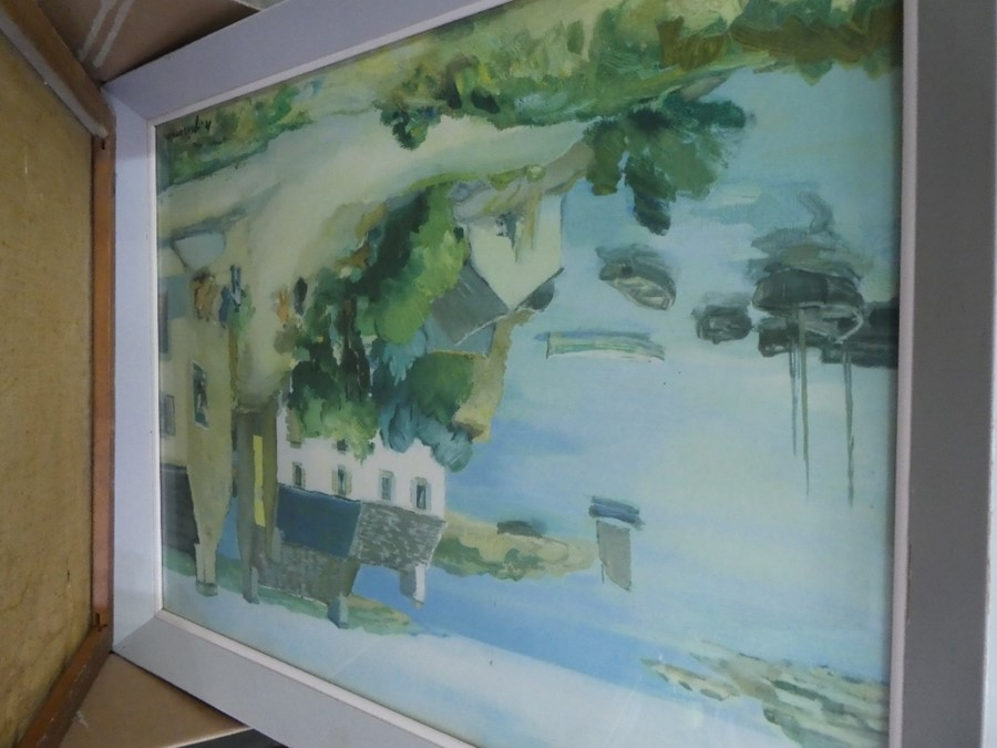 A box of mixed pictures and prints of various subjects and a framed gold mirror - Image 4 of 5