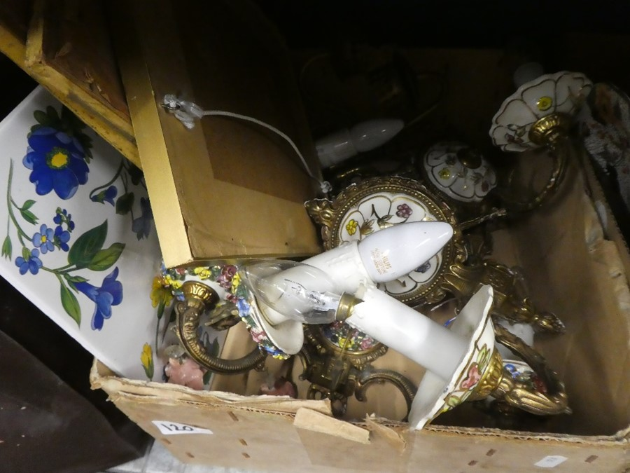 Two boxes to include brass and china light fittings, oil lamp, china, teapot, etc