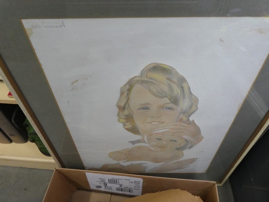 A box of mixed pictures and prints of various subjects and a framed gold mirror - Image 5 of 5