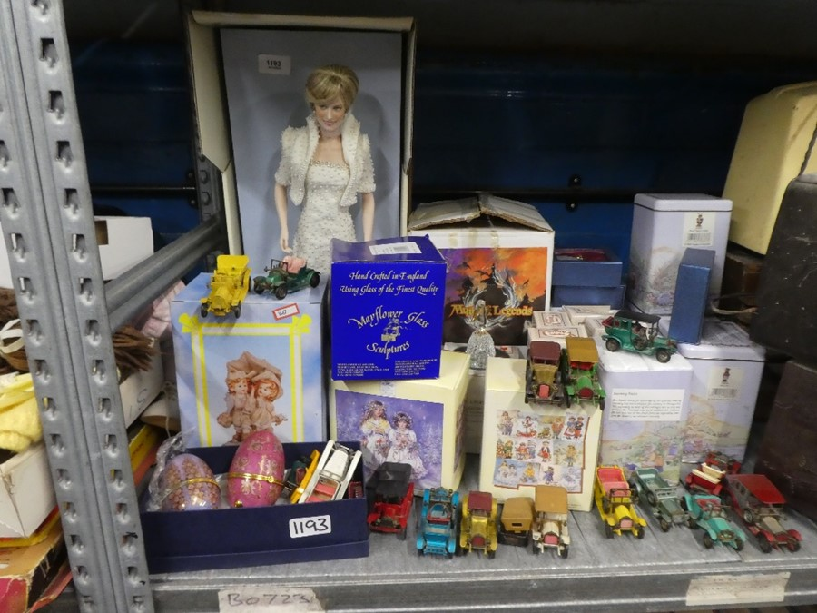 Lady Diana doll in box, toy cars, boxed china ornaments, to include Regency Fine Art rabbits, myths