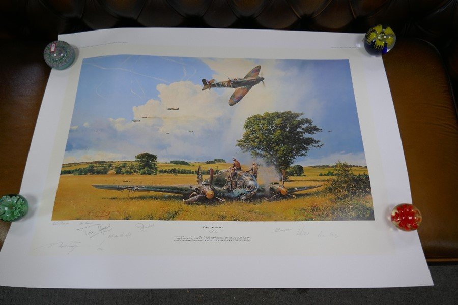 Robert Taylor a coloured print ' Fight for the sky' 29/50 with numerous pencil signatures unframed