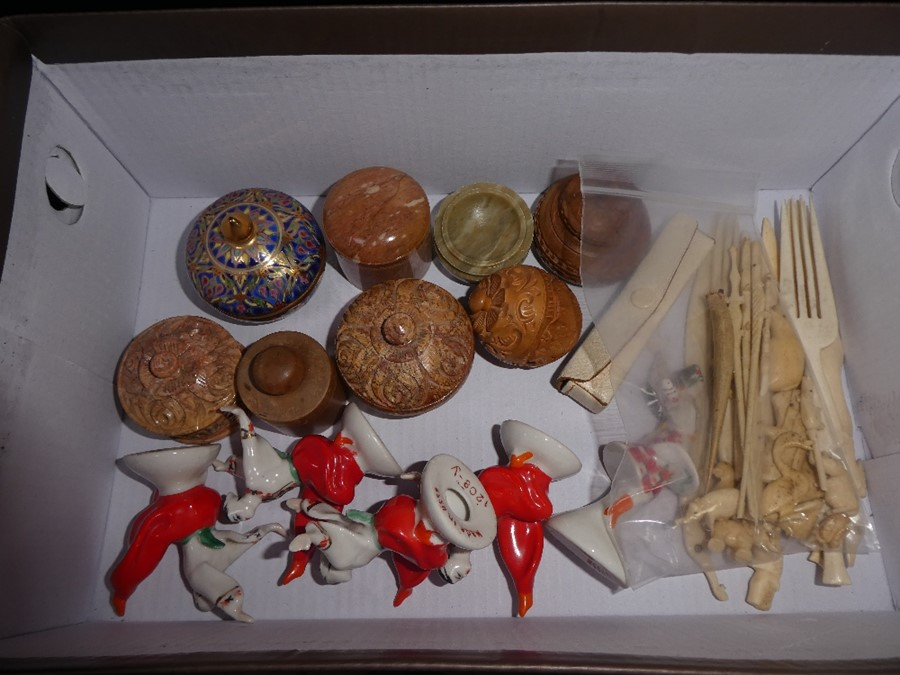 5 Soviet Union china dancers, various bone carvings and sundry