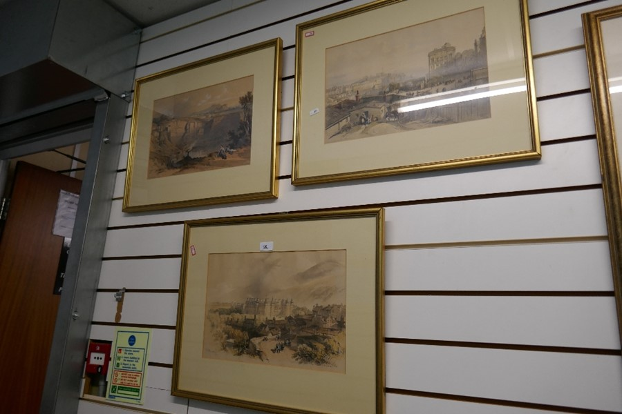 Three antique coloured prints of Edinburgh and the Palace of Holyrood - Image 6 of 7