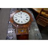 A Victorian rosewood drop dial wall clock