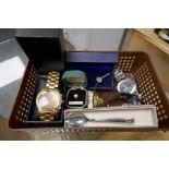 Box of various gents wristwatches, pair cufflinks, tie tack etc
