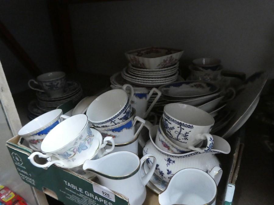 A box of mixed china including Royal Kent ware, milk jugs, etc