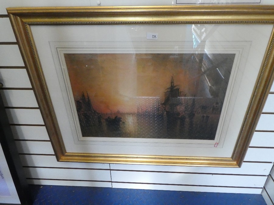 F.G Hart an antique watercolour of ships at dusk, signed 64x42cms approx