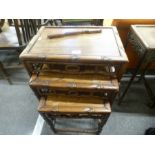 Nest of 3 Chinese hardwood coffee tables having carved decoration
