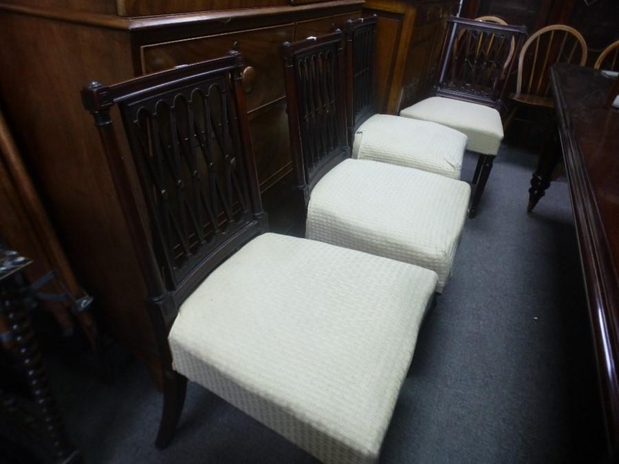 Set of 8 antique Mahogany dining chairs having lattice backs