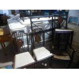 Set of 6 inlaid 1920 mahogany dining chairs