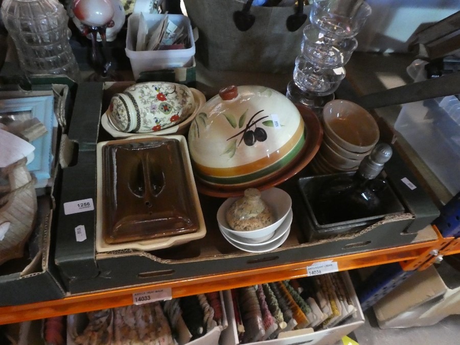 2 Boxes; one containing wooden nautical items and one containing china dishes etc
