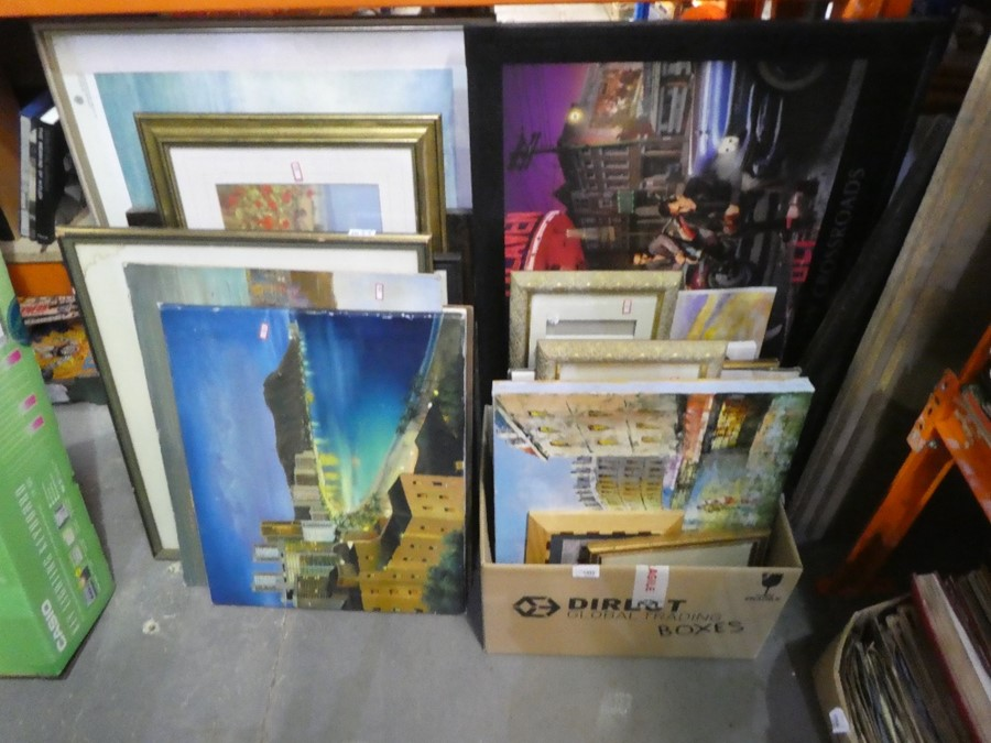 Quantity of framed and unframed pictures and prints - various scenes including street and landscape