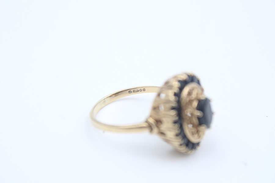 vintage 9ct gold sapphire halo dress ring 4.7g - Image 4 of 4