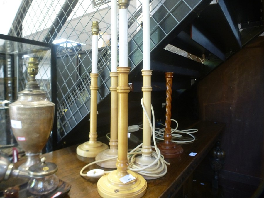 2 Pairs of David Hicks table lamps and one other - two having motifs