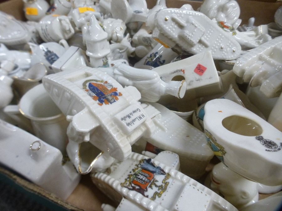 A tray of crested china including many tanks and 6 related books - Image 2 of 2