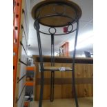 Two modern metal and pine tables - one oblong and 1 round