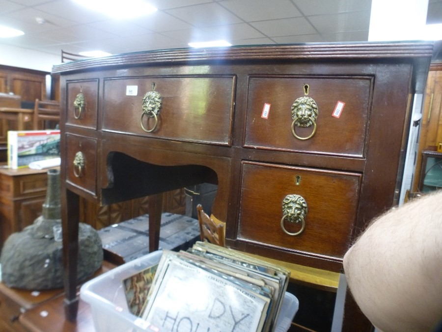 Antique mahogany box fronted sideboard having 5 drawers on square legs, 98cm wide - Image 2 of 2