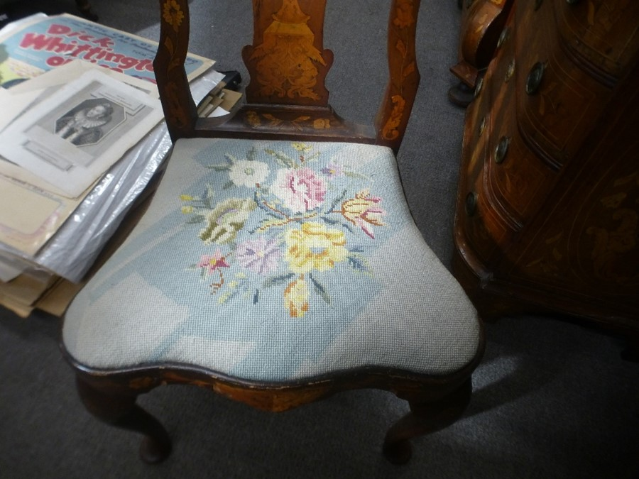4 Similar antique Dutch marquetry dining chairs with tapestry drop seats - Image 2 of 3