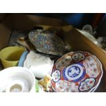 Box of mixed china including oriental plates, etc and a selection of vintage mirrors