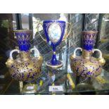 Pair of antique Derby vases having blue and gilt decoration, 1 AF and a Mintons goblet AF
