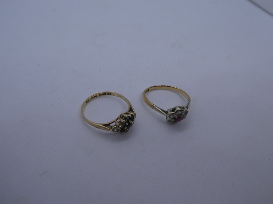 2 x 9ct Gold gemstone detail rings inc. sapphire, cluster 3.1g - Image 3 of 3