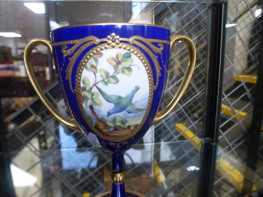 Pair of antique Derby vases having blue and gilt decoration, 1 AF and a Mintons goblet AF - Image 2 of 3