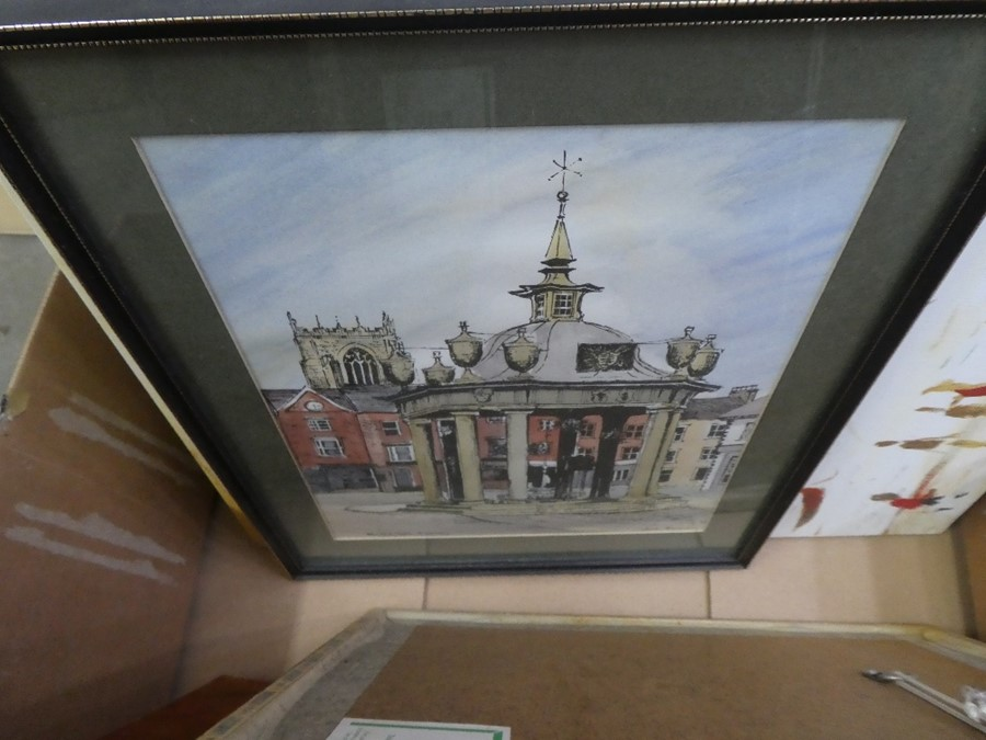 A box of mixed pictures and prints of various subjects and a framed gold mirror - Image 3 of 5