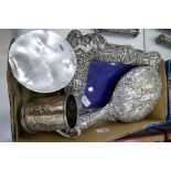 A mixed lot comprising a silver cup, silver bracelet and pendant, silver backed mirror, silver to