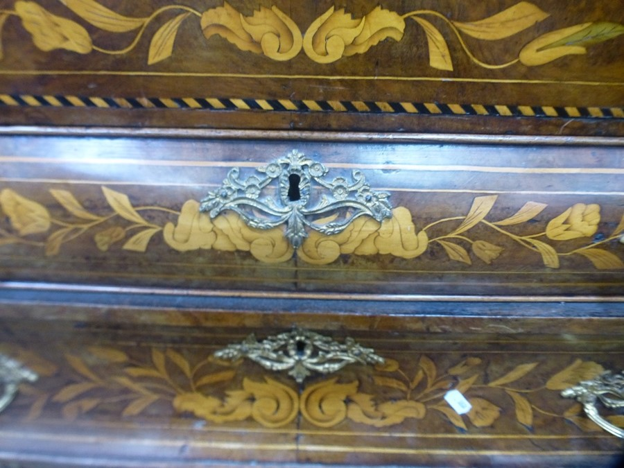 An antique Dutch marquetry bombe bureau having well interior with three long drawers 120cm - Image 3 of 4
