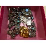 Box containing various Egyptian, white metal and silver jewellery, pill box, pill ring, most set wit