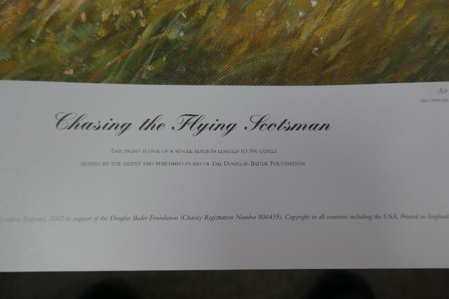 Gavin Mackay 'Chasing the Flying Scotsman' print signed by Lady Bader and a small Robert Taylor prin - Image 5 of 7