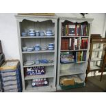 A Pair of painted open bookcases, height 169cm