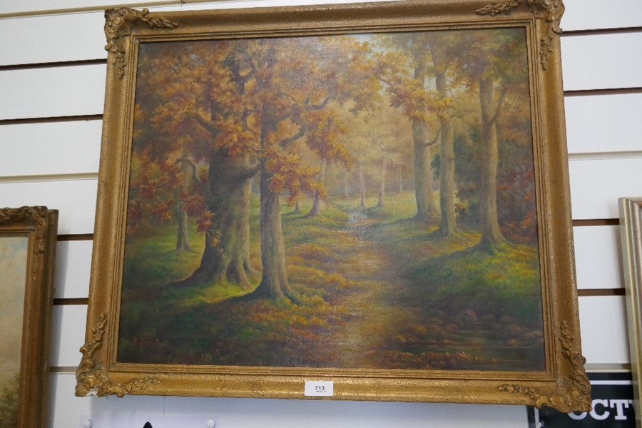 E Bromhall: an oil of a vase of flowers and an oil of a woodland path. The largest 59.5 x 49.5cms - Image 4 of 7