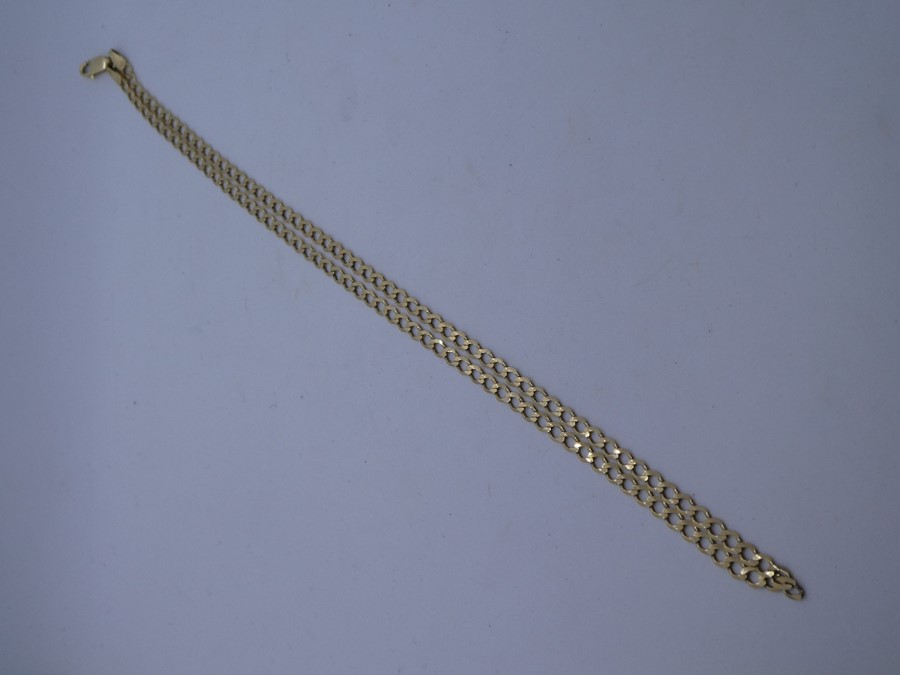 9ct yellow gold curb link bracelet, marked 375, approx 44cm 5g