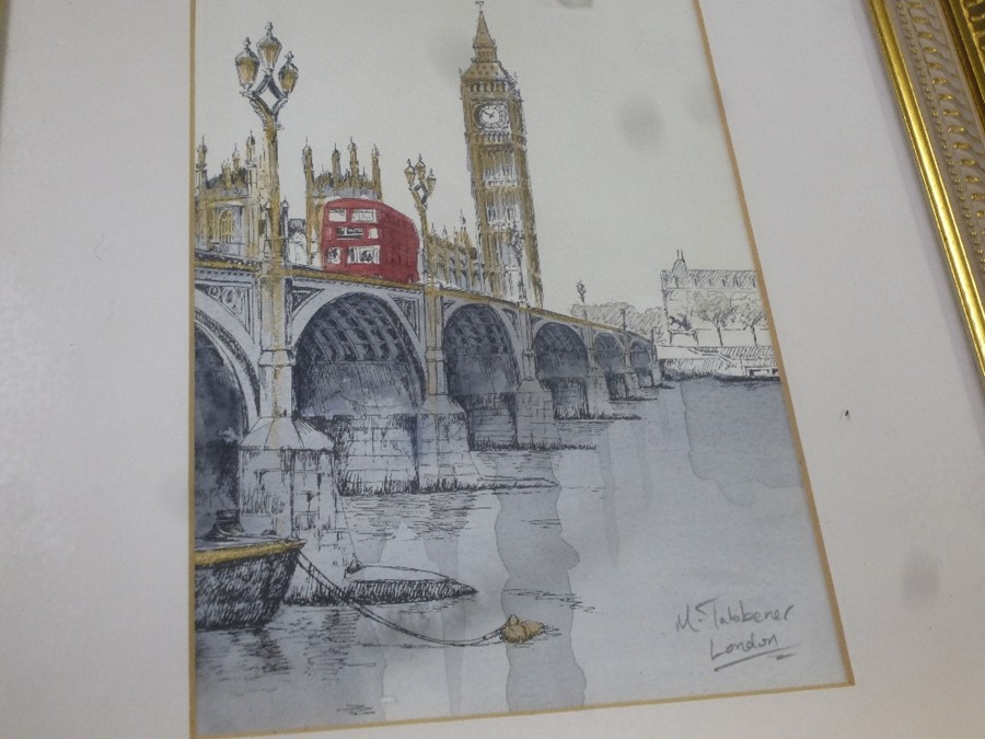 Three pictures of London signed M S Tabbener and 2 oval classical style prints - Image 3 of 4